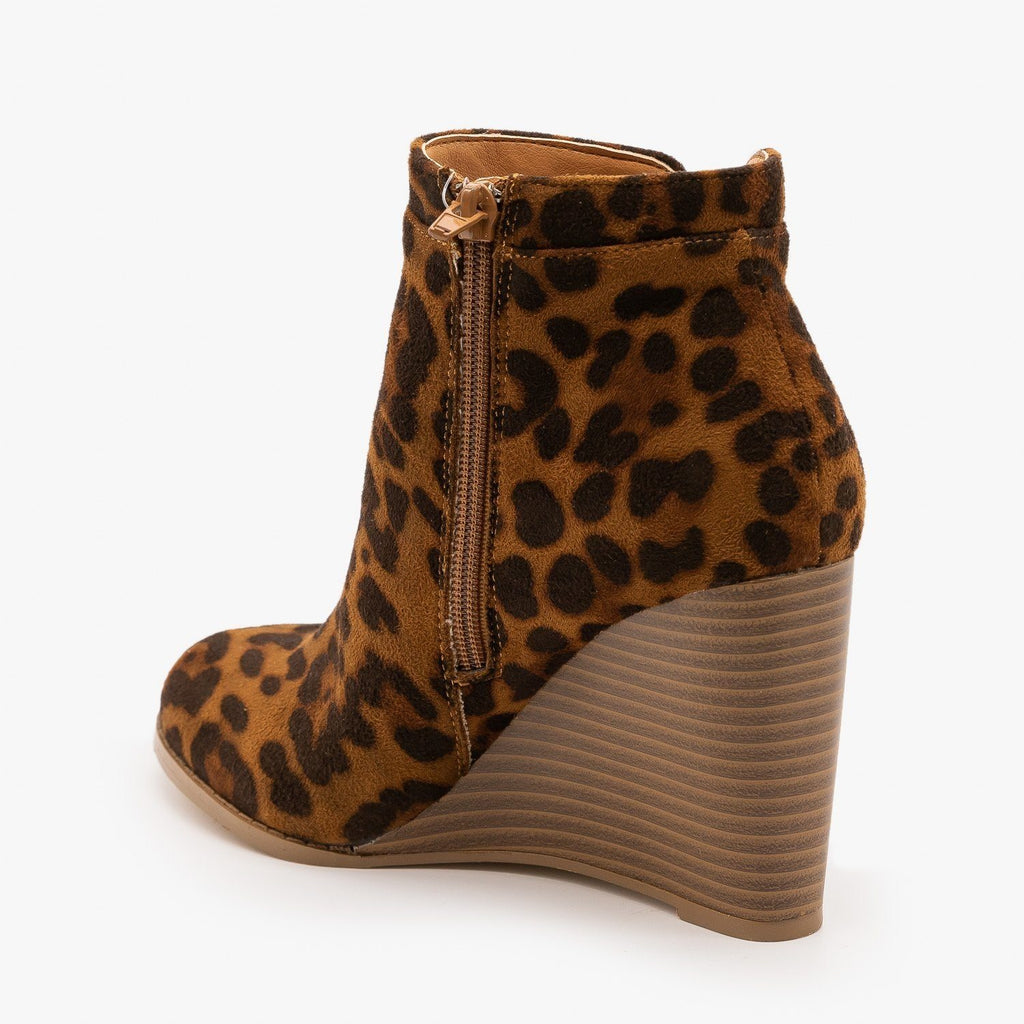Womens Animal Print Side Cut Wedge Heel Booties - Mata