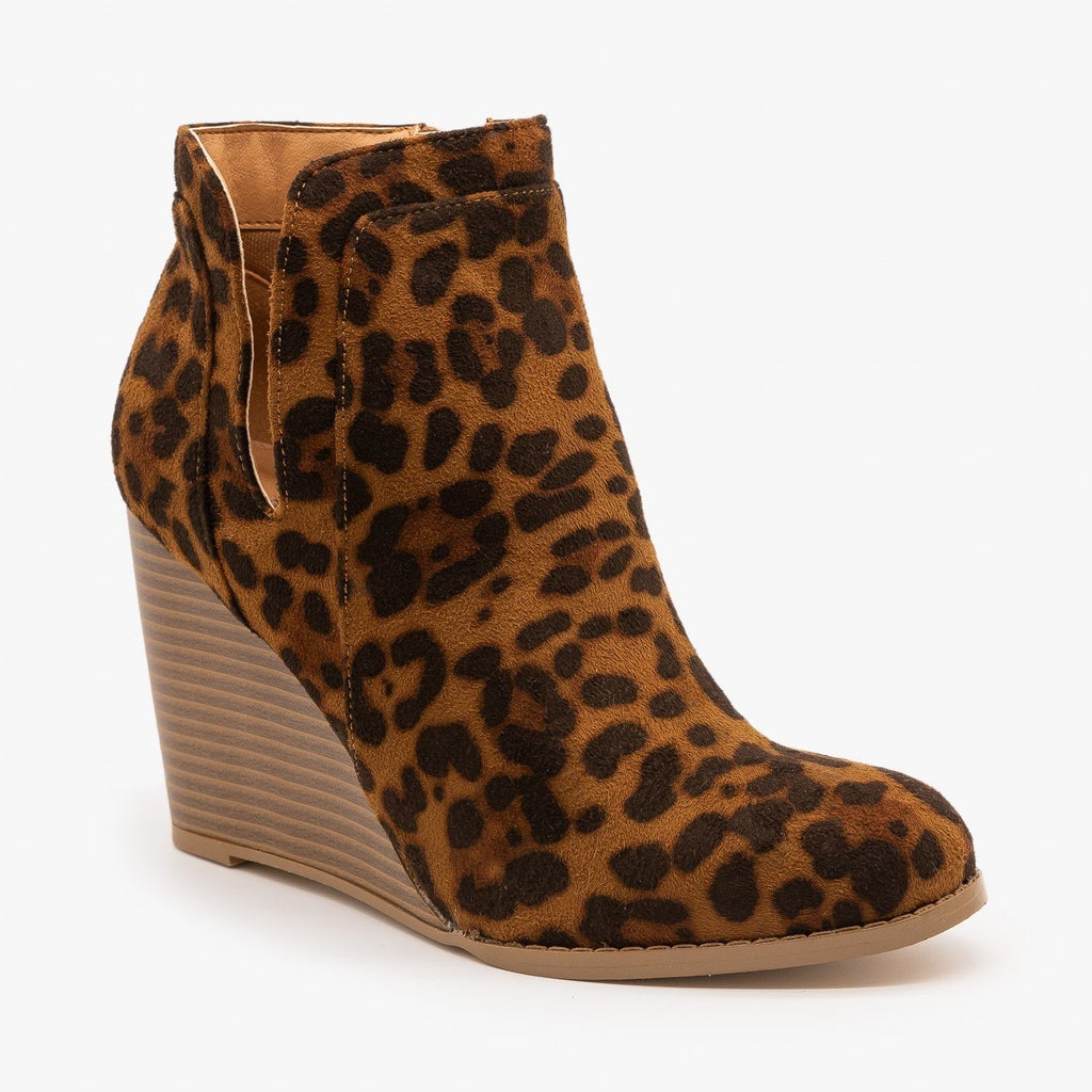 Womens Animal Print Side Cut Wedge Heel Booties - Mata - Leopard / 5