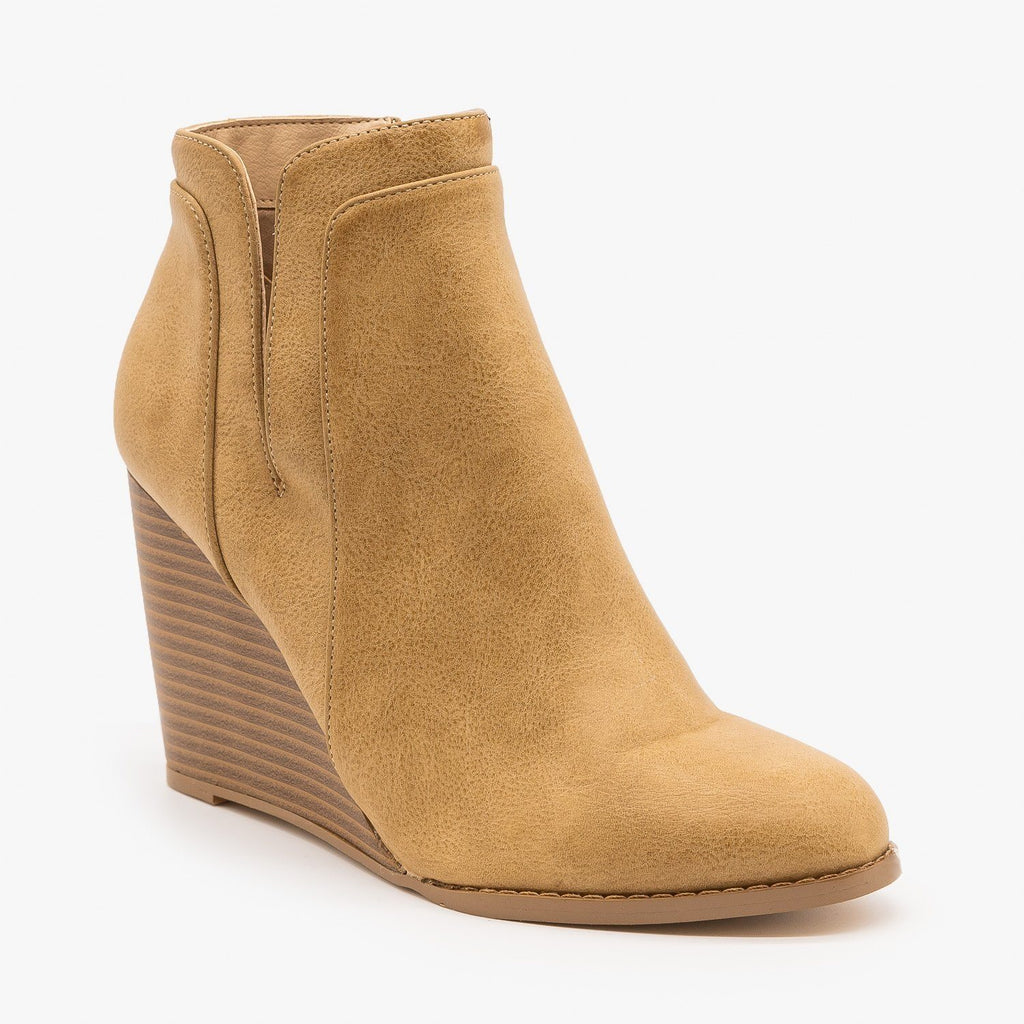Womens Posh Side Cut Wedge Heeled Booties - Mata - Taupe / 5