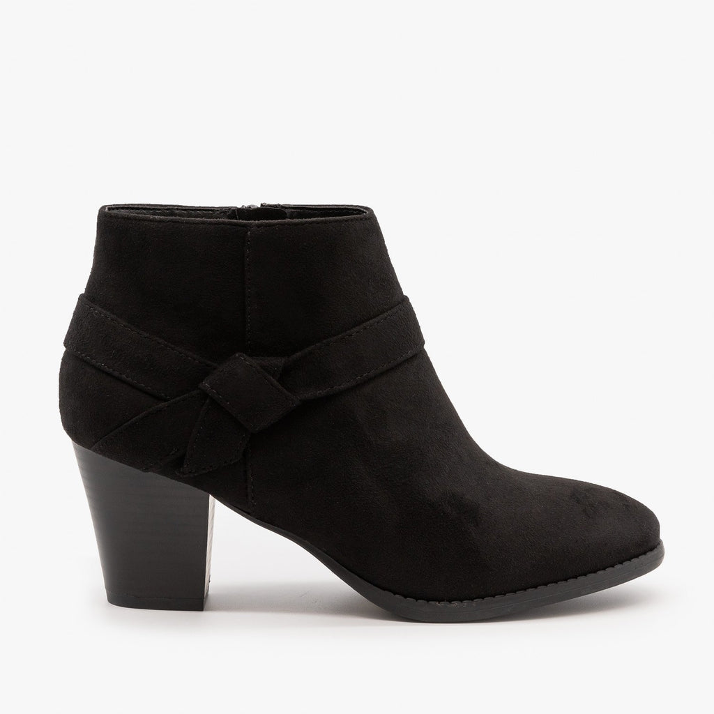 Womens Posh Side Knot Booties - City Classified Shoes - Black / 5