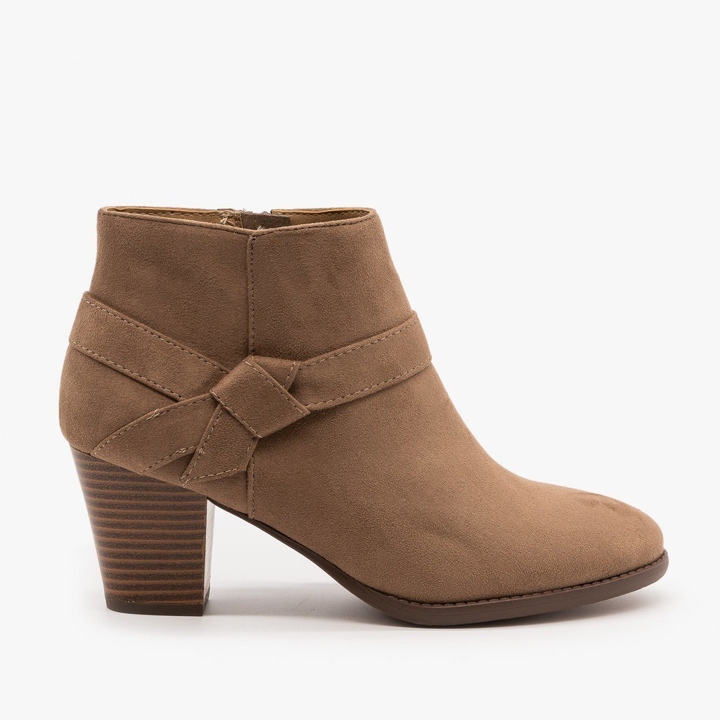 Womens Posh Side Knot Booties - City Classified Shoes - Taupe / 5