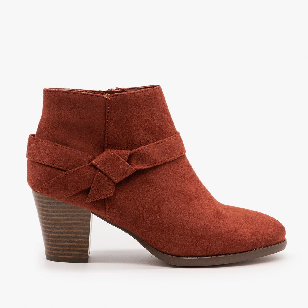 Womens Posh Side Knot Booties - City Classified Shoes - Rust / 5