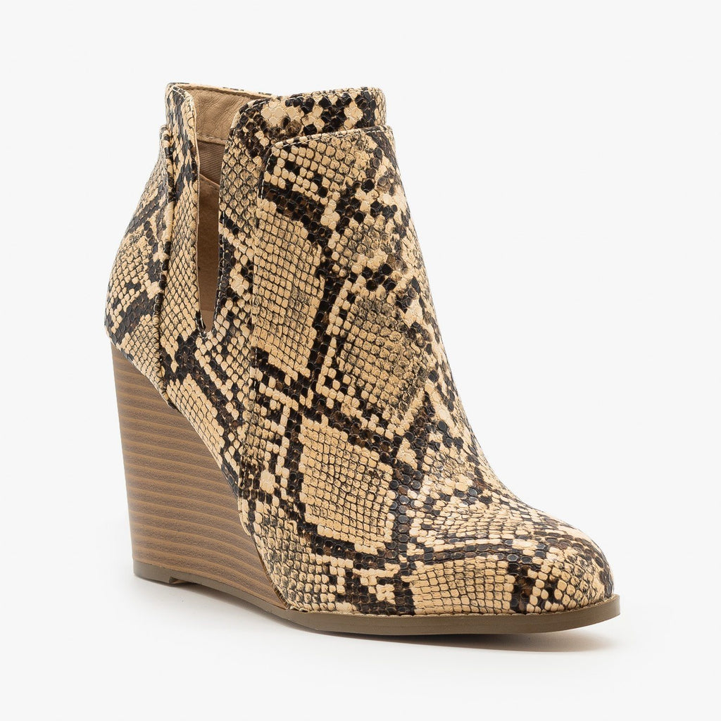 Womens Posh Snake Print Wedge Heeled Booties - Mata - Coffee Snake / 5