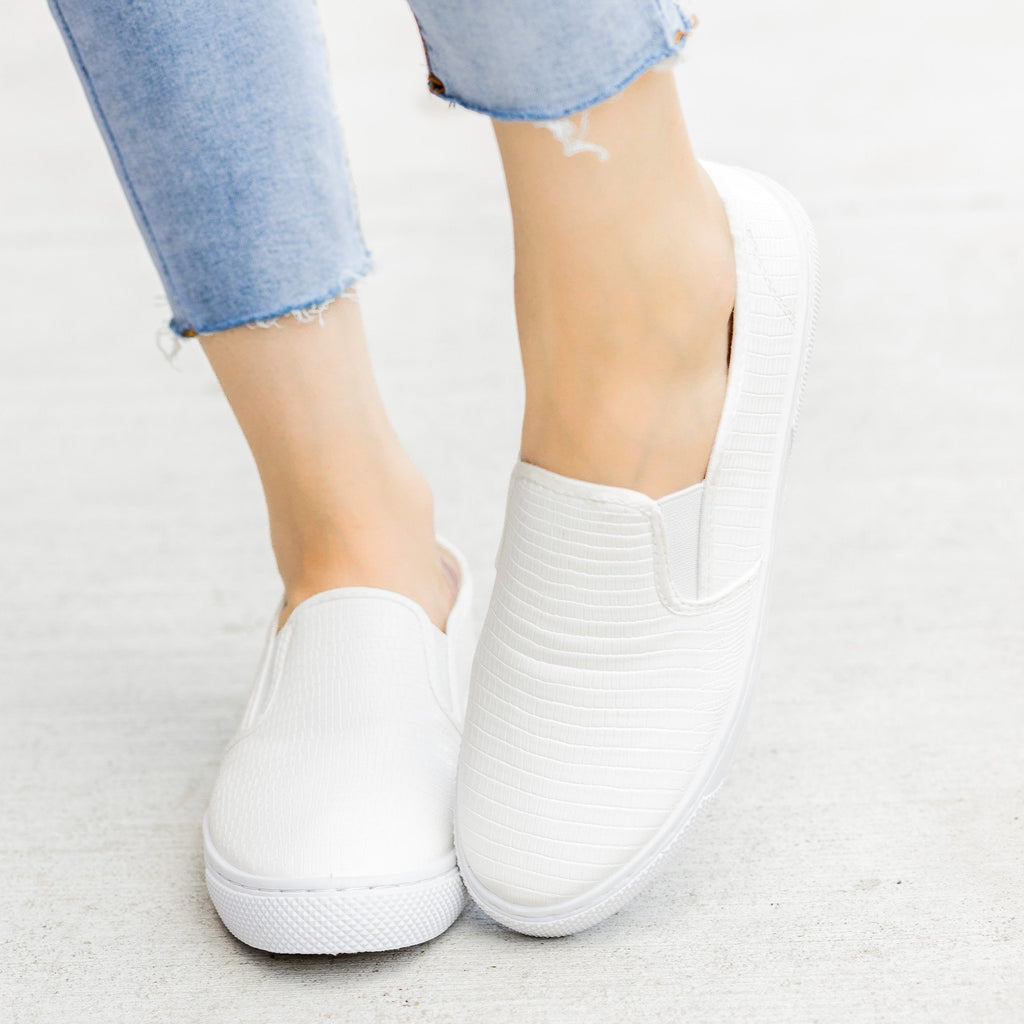 Womens Posh Textured Slip-On Sneakers - Qupid Shoes
