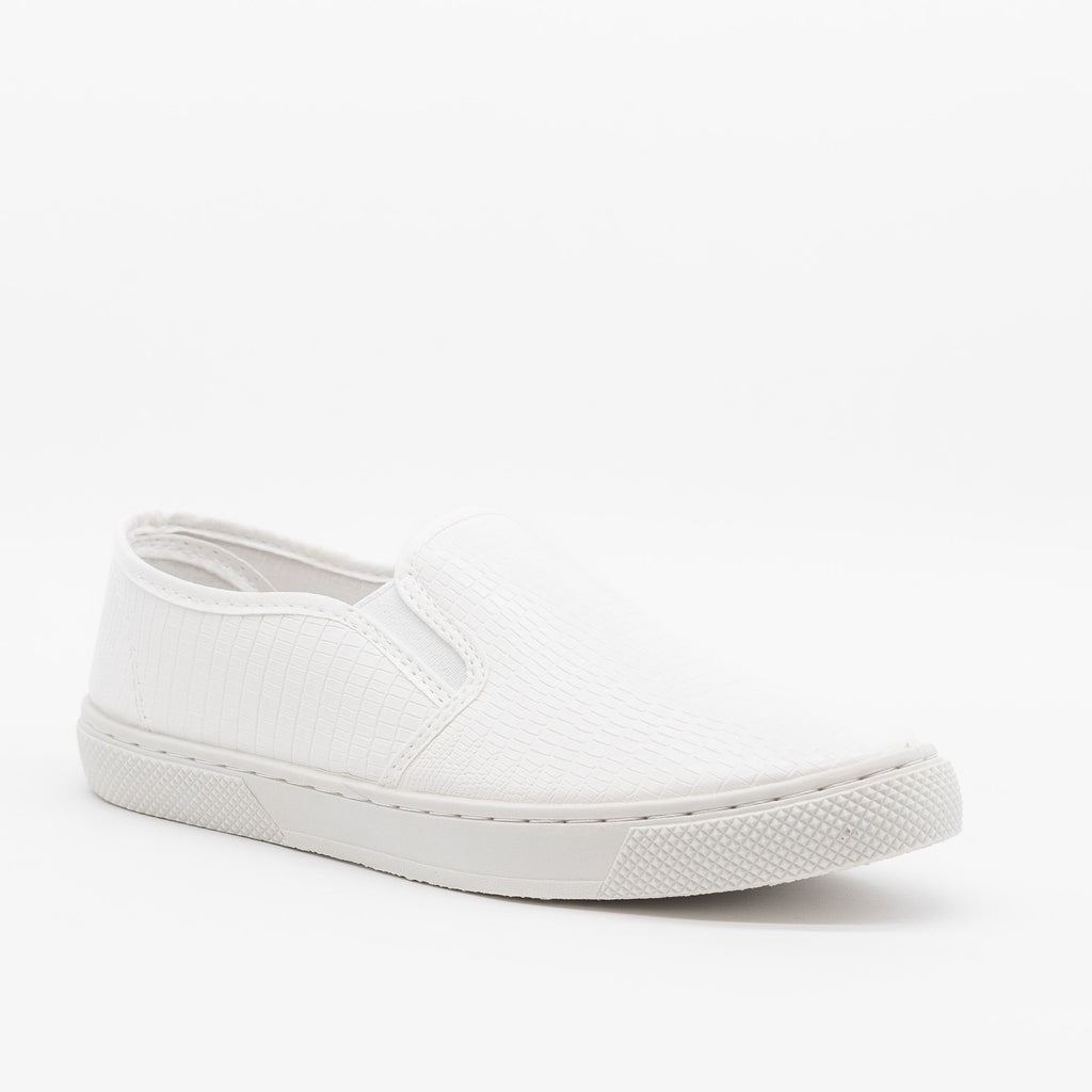 Womens Posh Textured Slip-On Sneakers - Qupid Shoes - White Lizard / 5