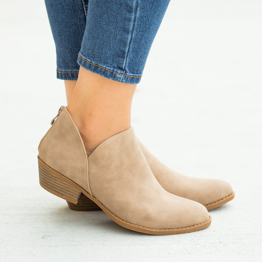 Womens Posh V-Cut Ankle Booties - Top Moda