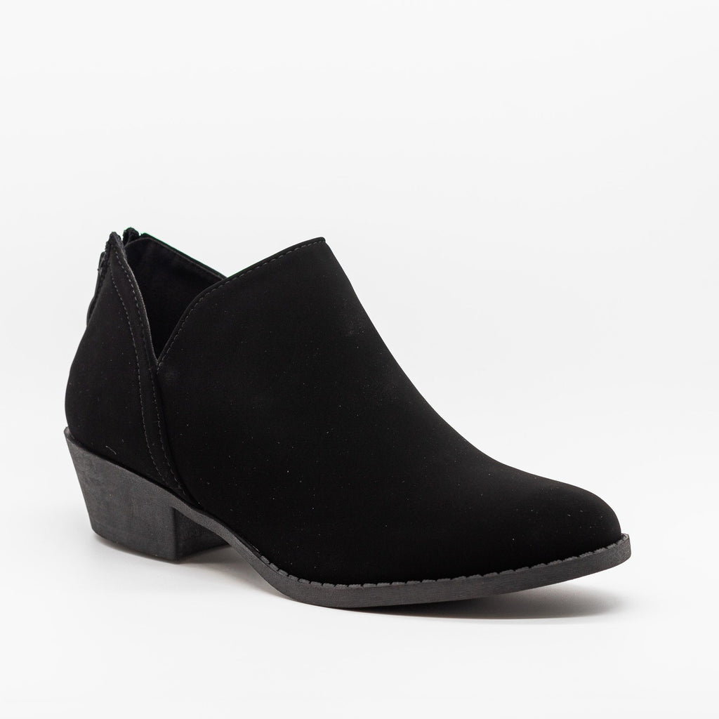 Womens Posh V-Cut Ankle Booties - Top Moda - Black / 5