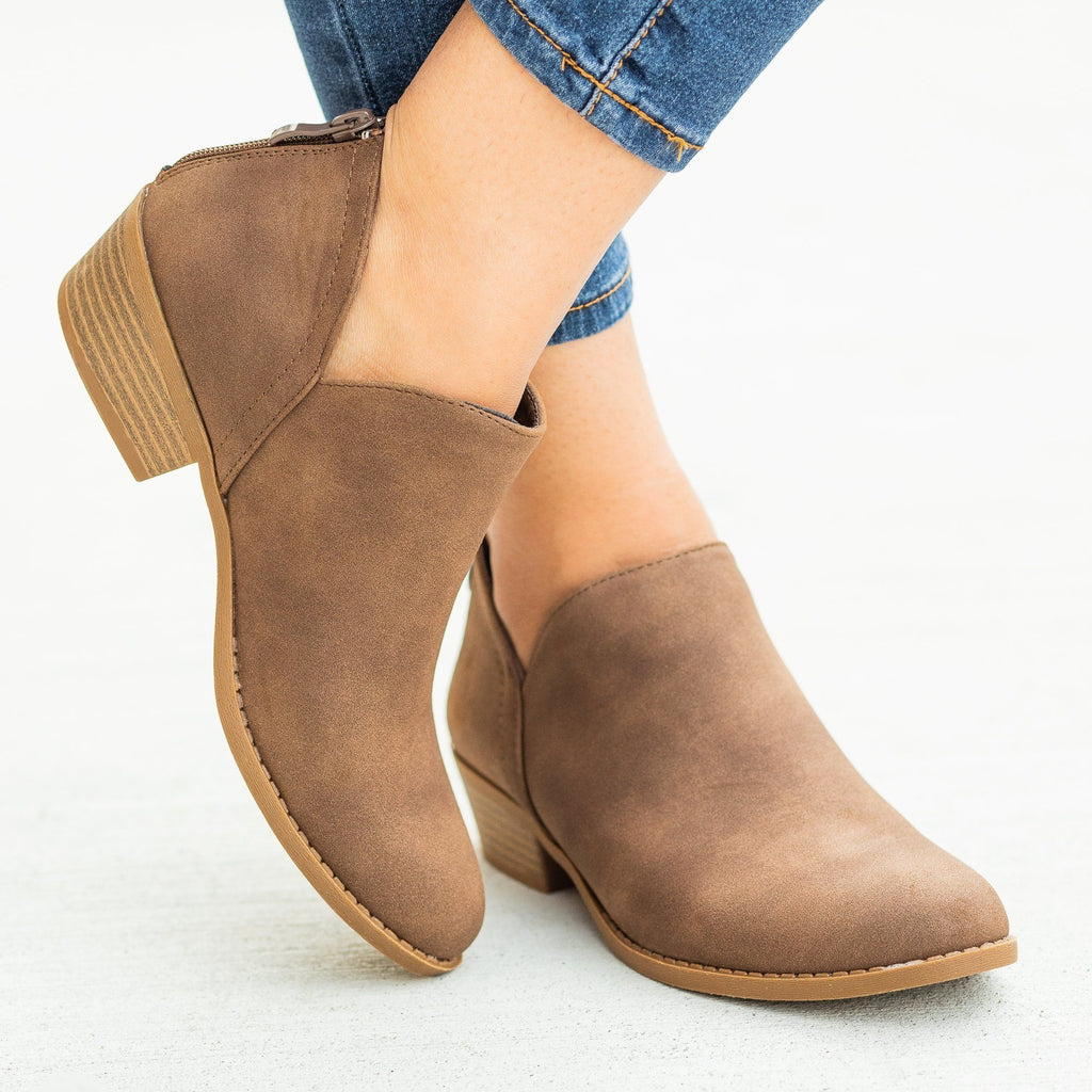 Womens Posh V-Cut Ankle Booties - Top Moda - Brown / 5