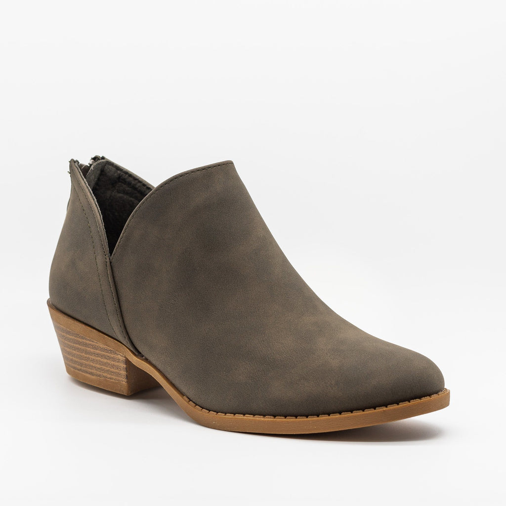 Womens Posh V-Cut Ankle Booties - Top Moda - Olive Green / 5