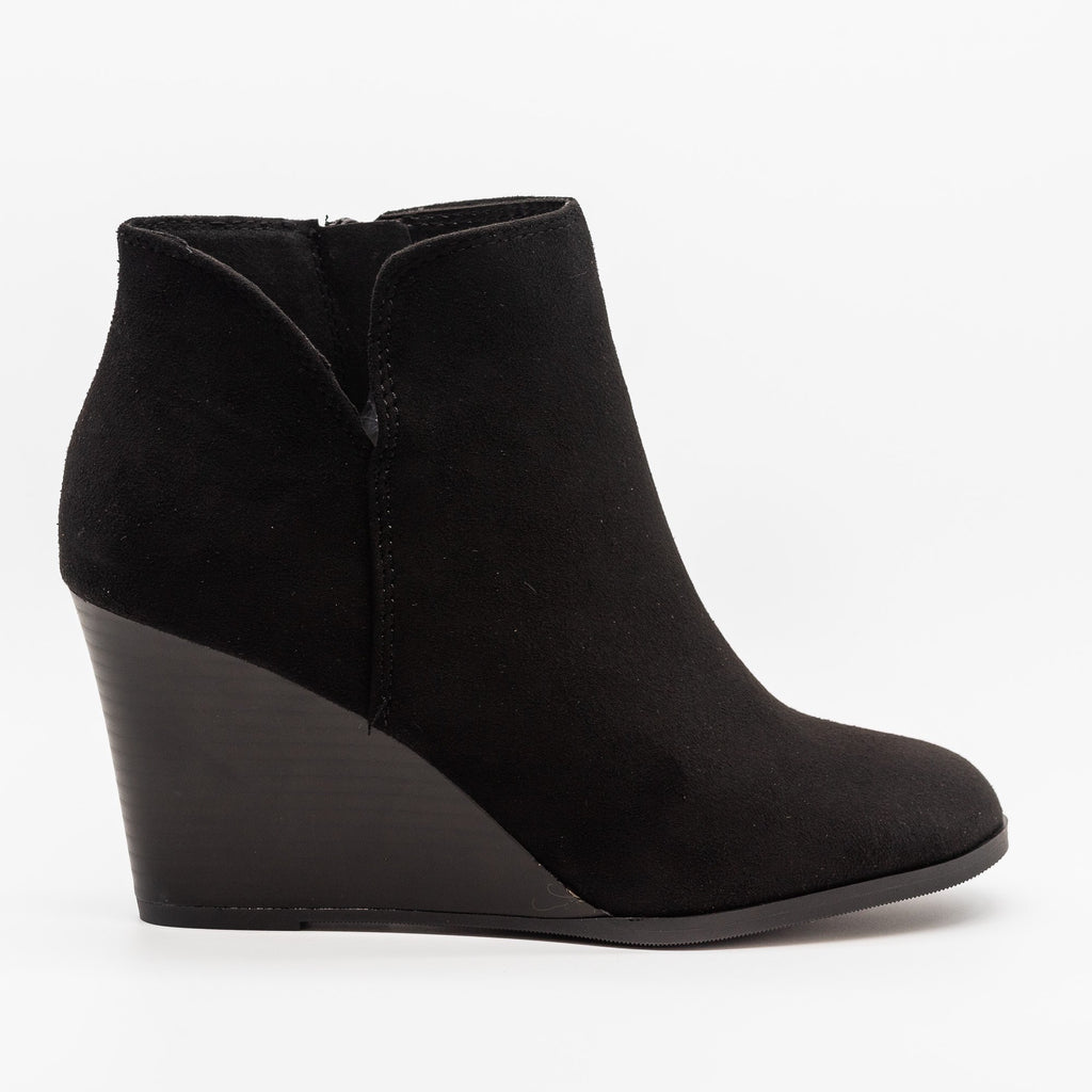Womens Posh V-Cut Bootie Wedges - Soda Shoes - Black / 5