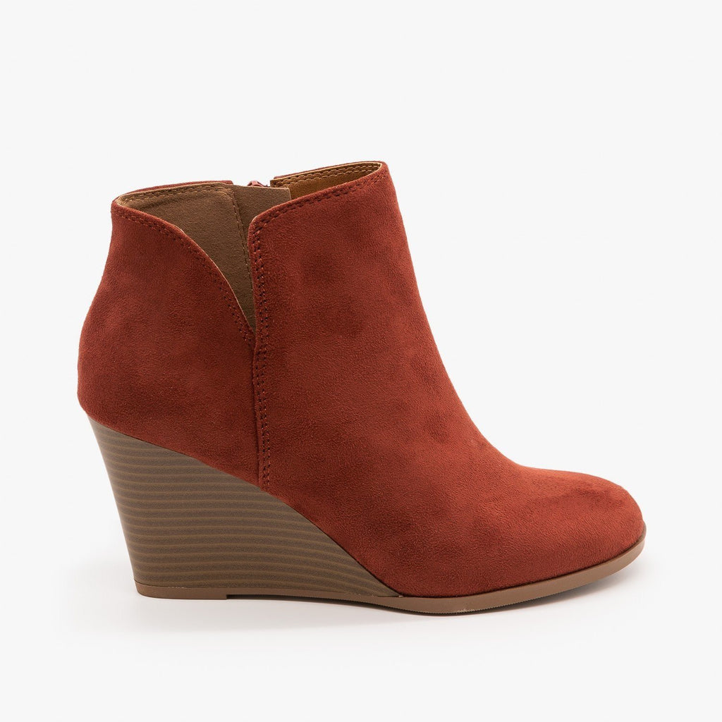 Womens Posh V-Cut Bootie Wedges - Soda Shoes - Dark Rust / 5
