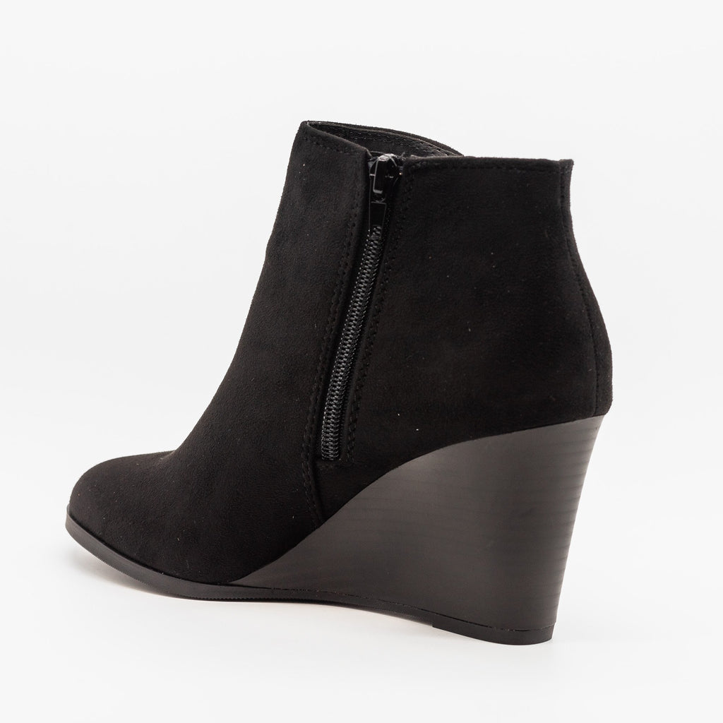 Womens Posh V-Cut Bootie Wedges - Soda Shoes