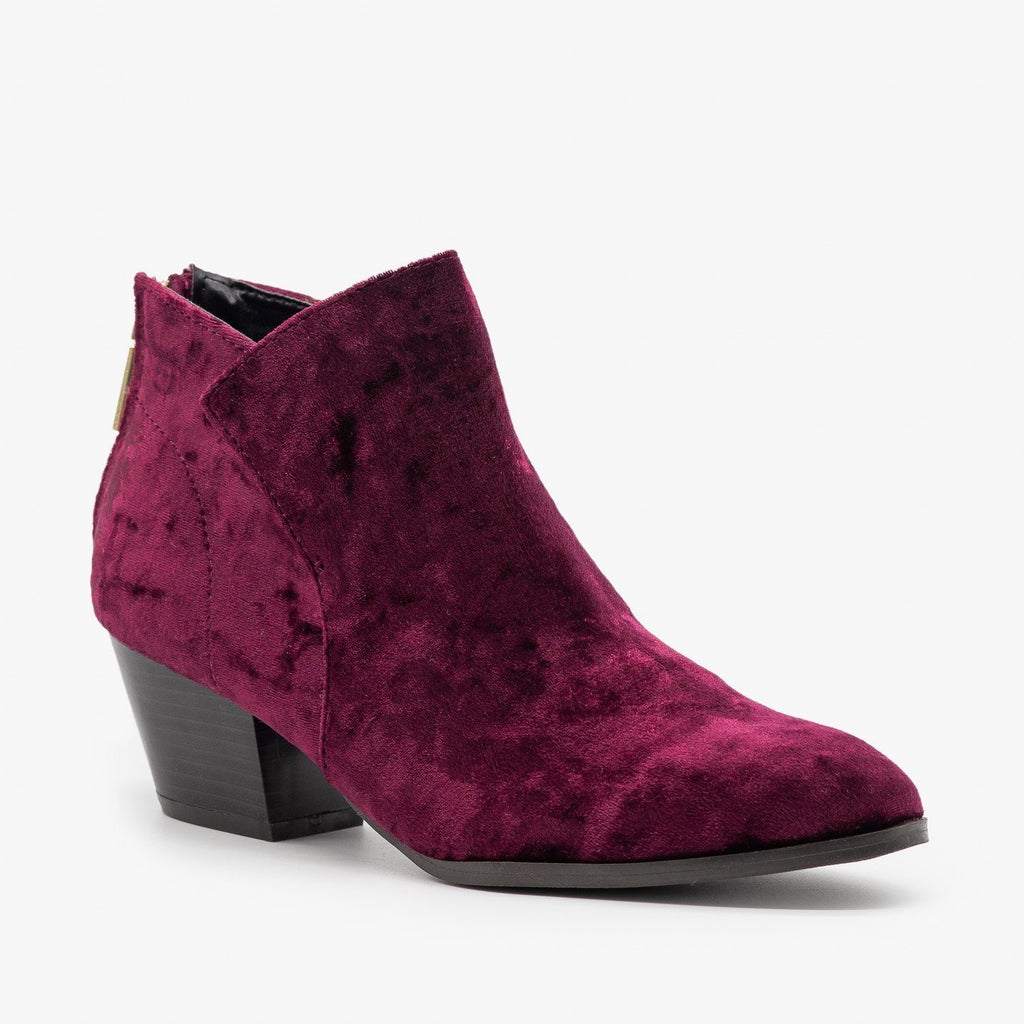 Womens Posh Velvet Almond-Toe Ankle Booties - Qupid Shoes