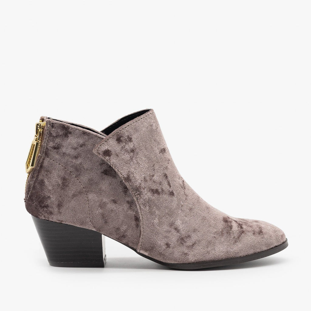 Womens Posh Velvet Almond-Toe Ankle Booties - Qupid Shoes - Mauve / 5