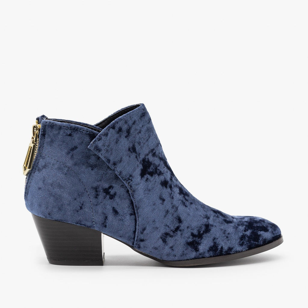 Womens Posh Velvet Almond-Toe Ankle Booties - Qupid Shoes - Dark Blue / 5