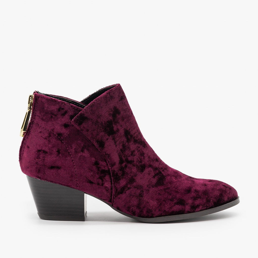Womens Posh Velvet Almond-Toe Ankle Booties - Qupid Shoes - Wine / 5