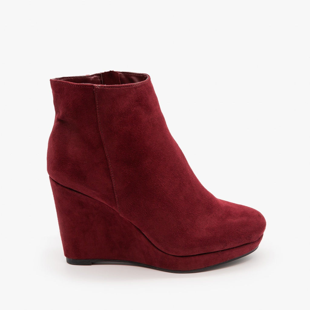 Womens Posh Wedge Booties - Bamboo Shoes - Burgundy / 5