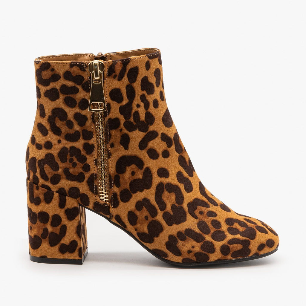 Womens Posh Zippered Ankle Booties - Bamboo Shoes - Leopard / 5