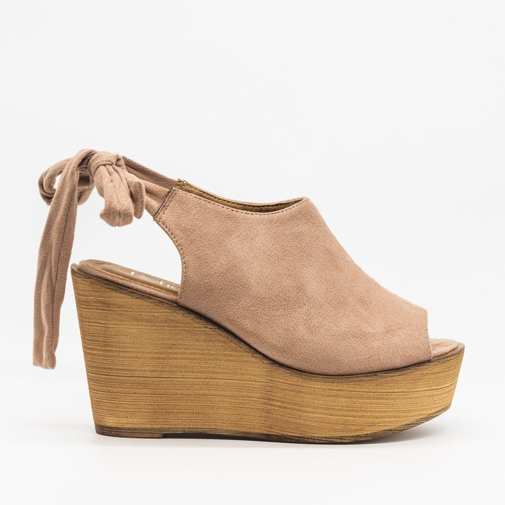 Womens Pretty Tie-up Suede Wedges - Refresh - Mauve / 5