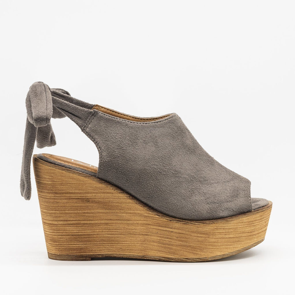 Womens Pretty Tie-up Suede Wedges - Refresh - Gray / 5
