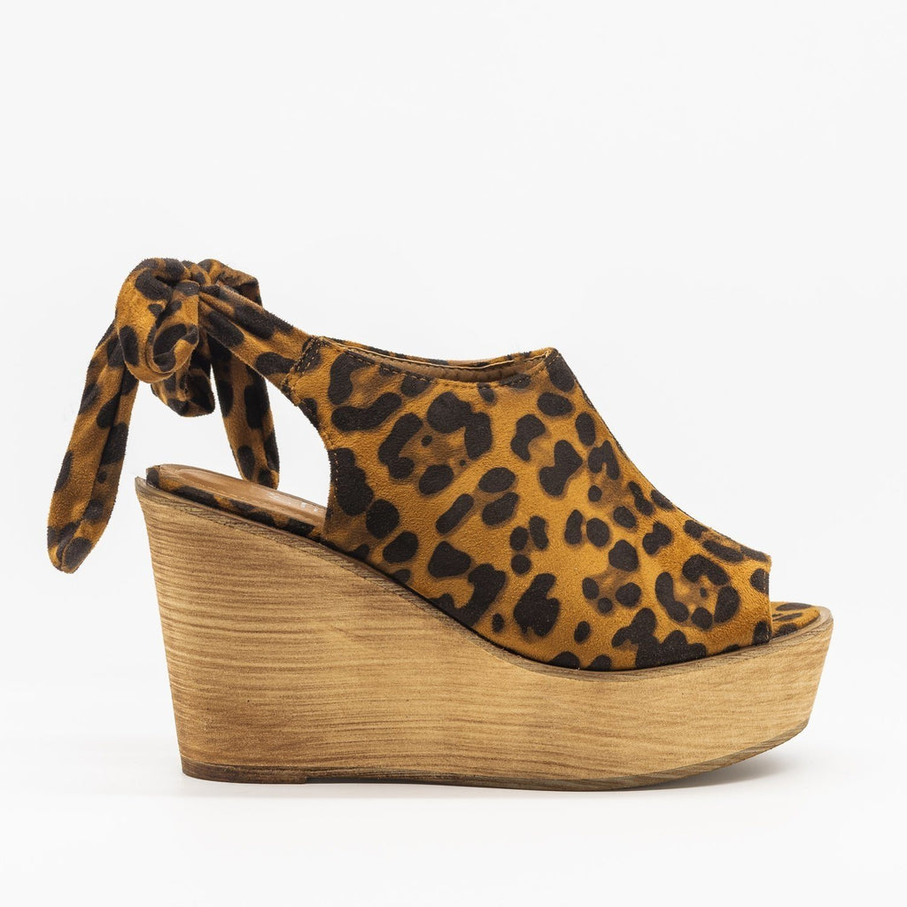 Womens Pretty Tie-up Suede Wedges - Refresh - Leopard / 5