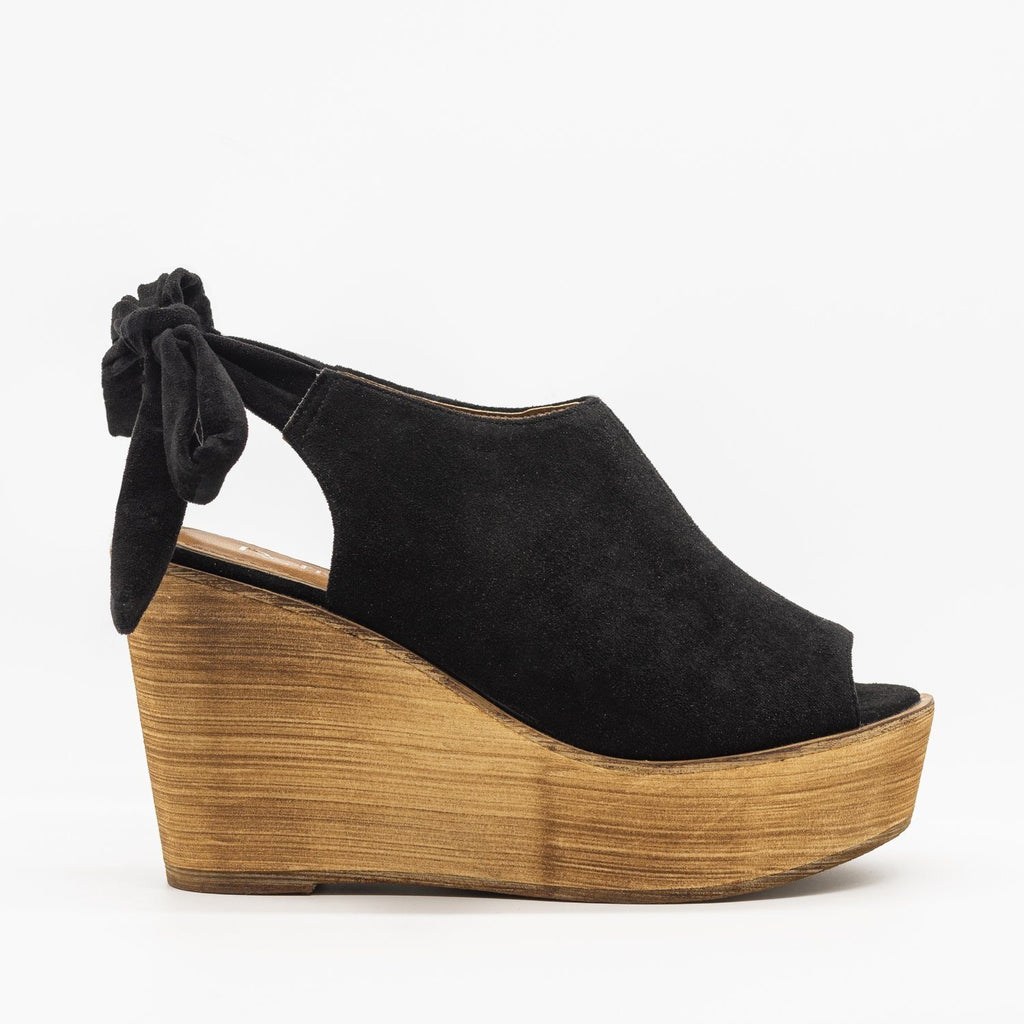 Womens Pretty Tie-up Suede Wedges - Refresh - Black / 5
