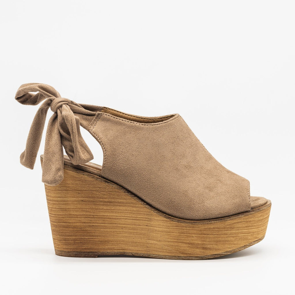 Womens Pretty Tie-up Suede Wedges - Refresh - Taupe / 5