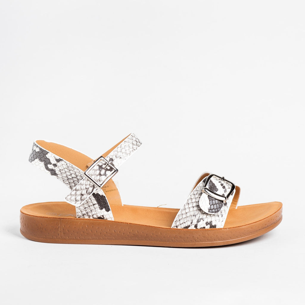 Womens Printed Buckled Fashion Sandals - Forever - Snake / 5