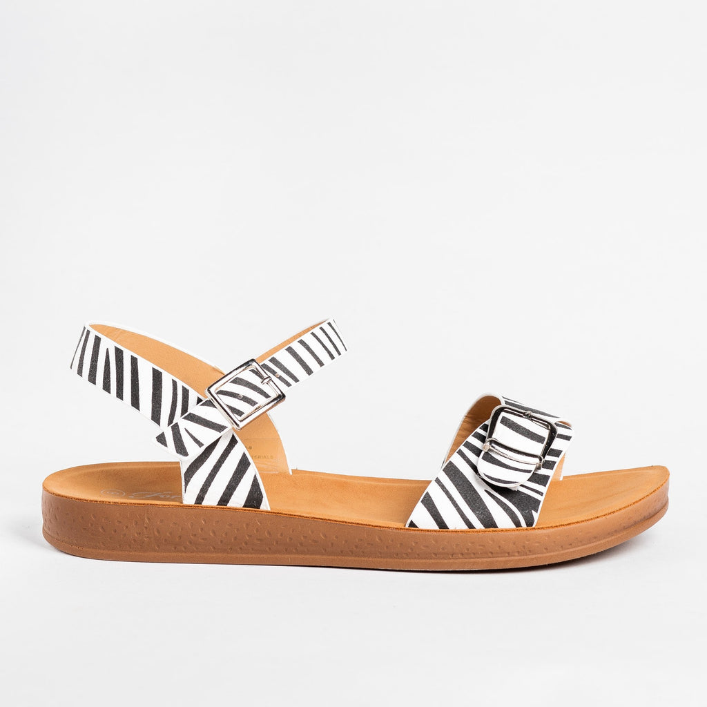 Womens Printed Buckled Fashion Sandals - Forever - Zebra / 5