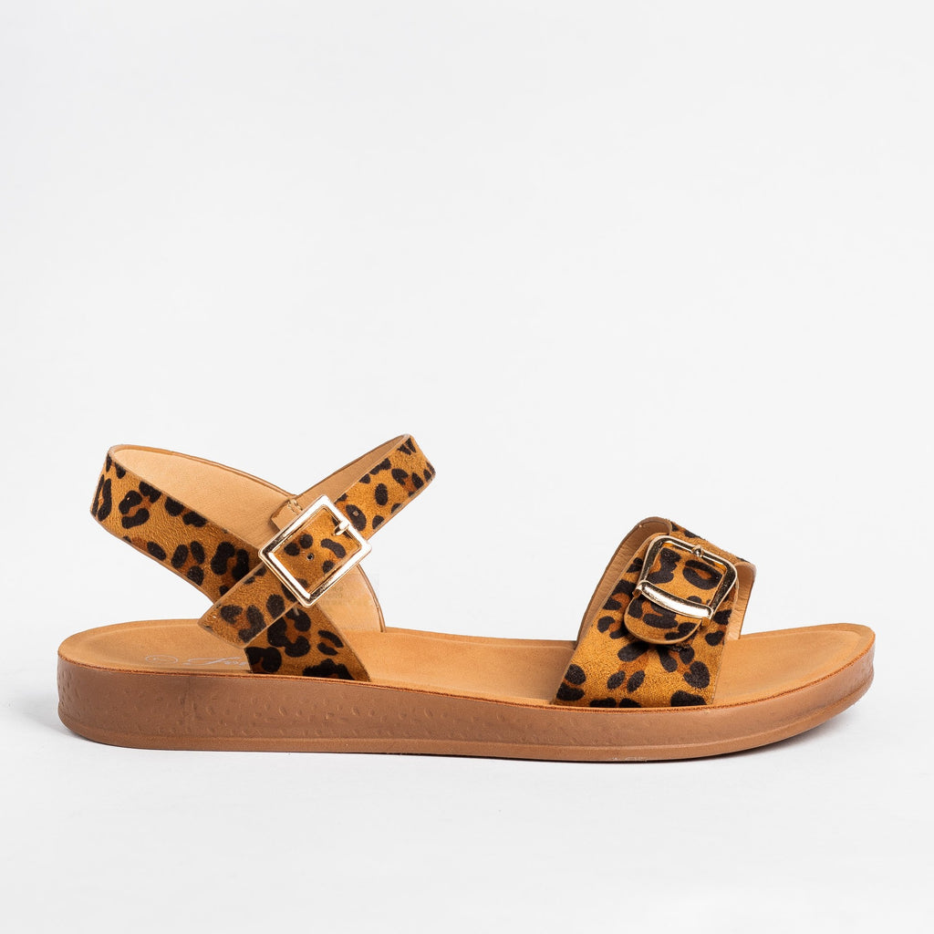Womens Printed Buckled Fashion Sandals - Forever - Leopard / 5