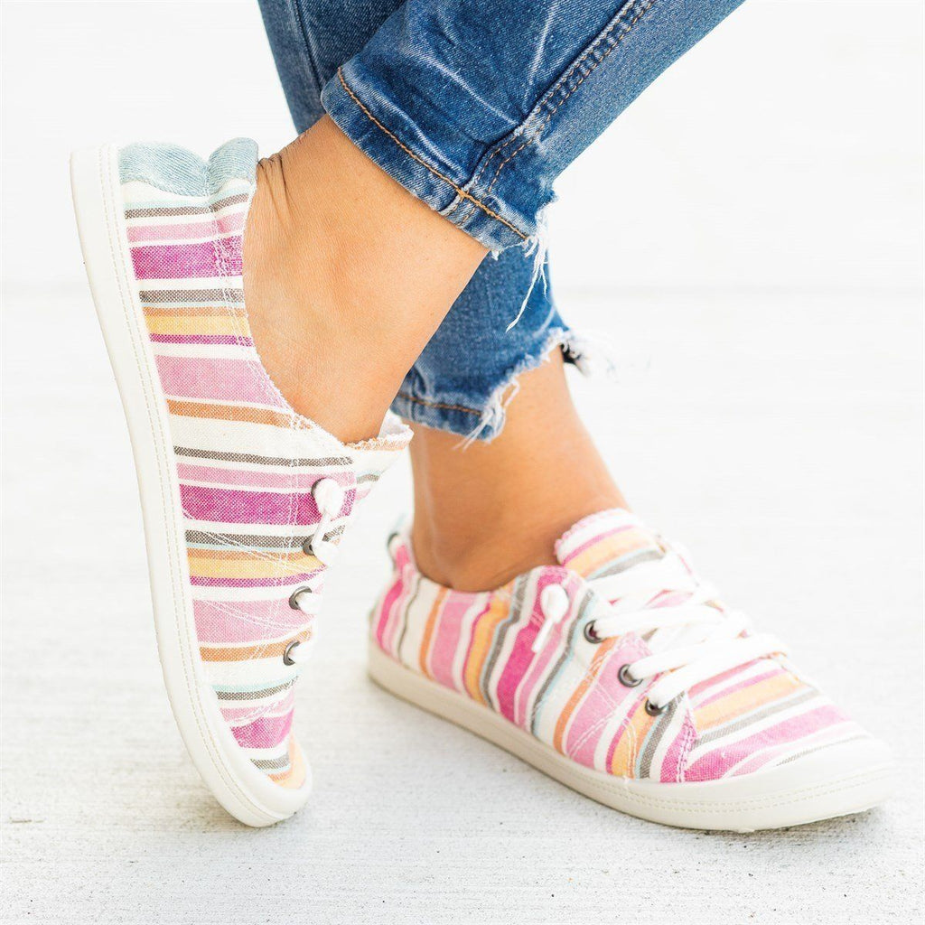 Womens Printed Comfort Canvas Fashion Sneakers - Forever