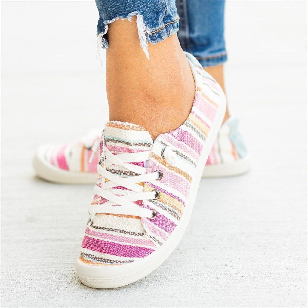 Womens Printed Comfort Canvas Fashion Sneakers - Forever - Multi Pink / 5