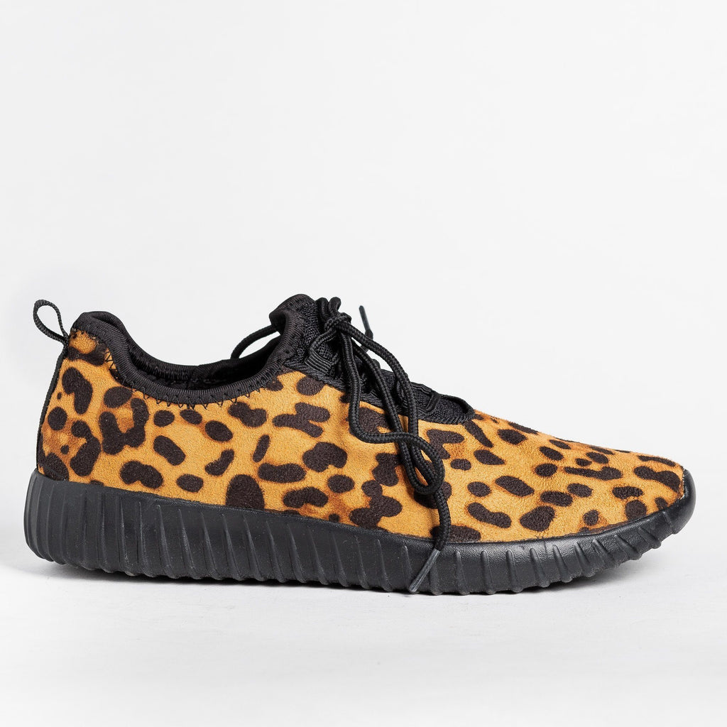 Womens Printed Fashion Sneakers - Forever - Leopard / 5