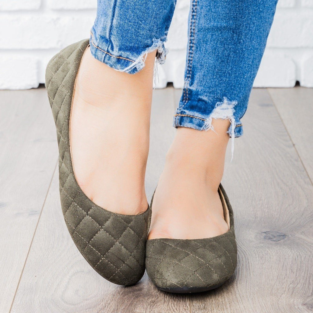 Womens Quilted Ballet Flats - Refresh - Khaki / 5