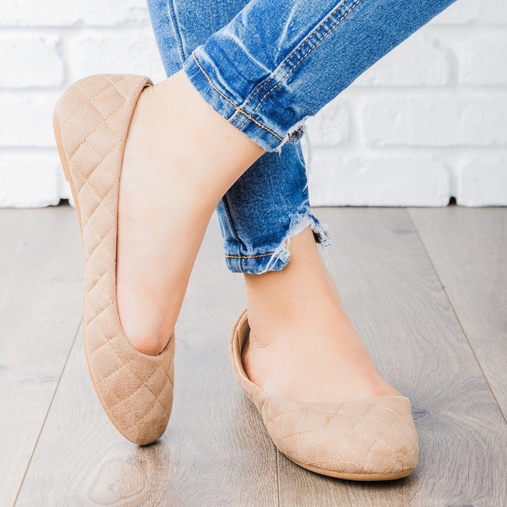 Womens Quilted Ballet Flats - Refresh - Taupe / 9