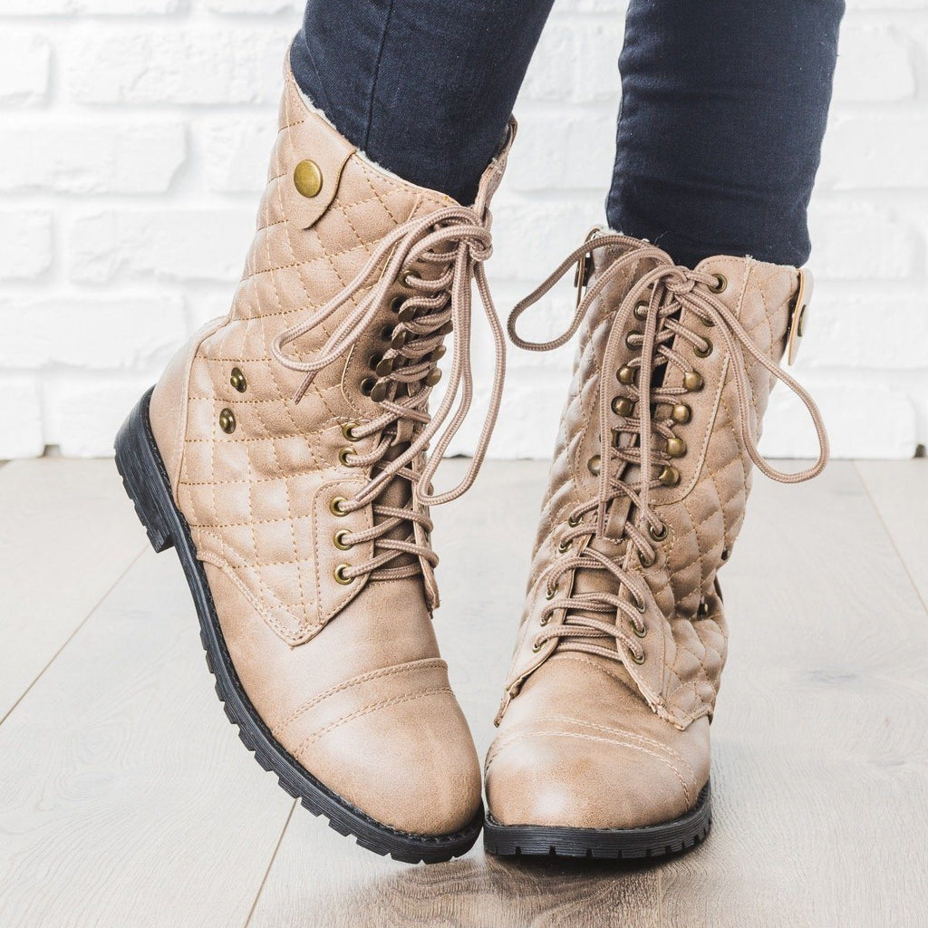 Womens Quilted Combat Boots - Glaze - Taupe / 5
