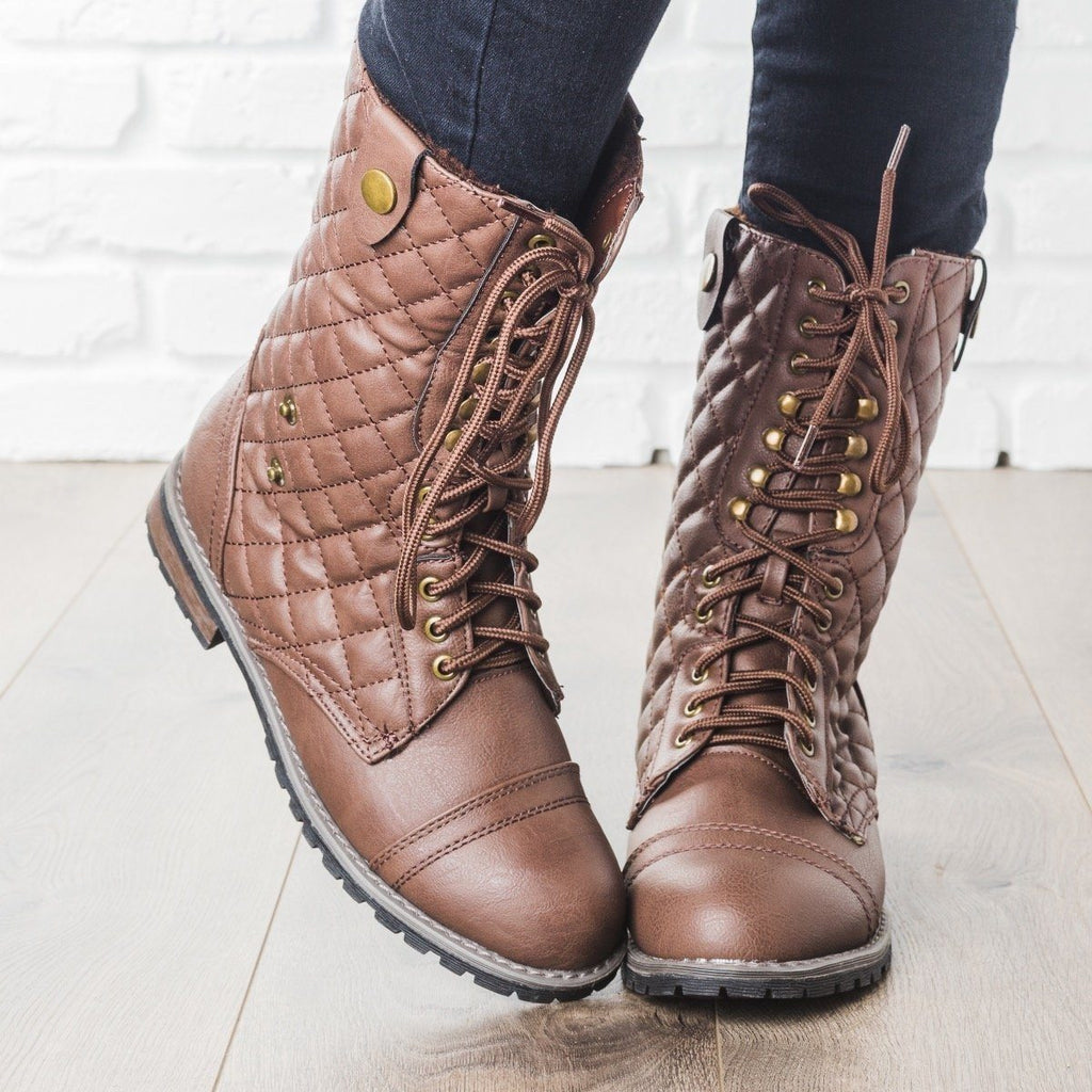 Womens Quilted Combat Boots - Glaze - Brown / 5