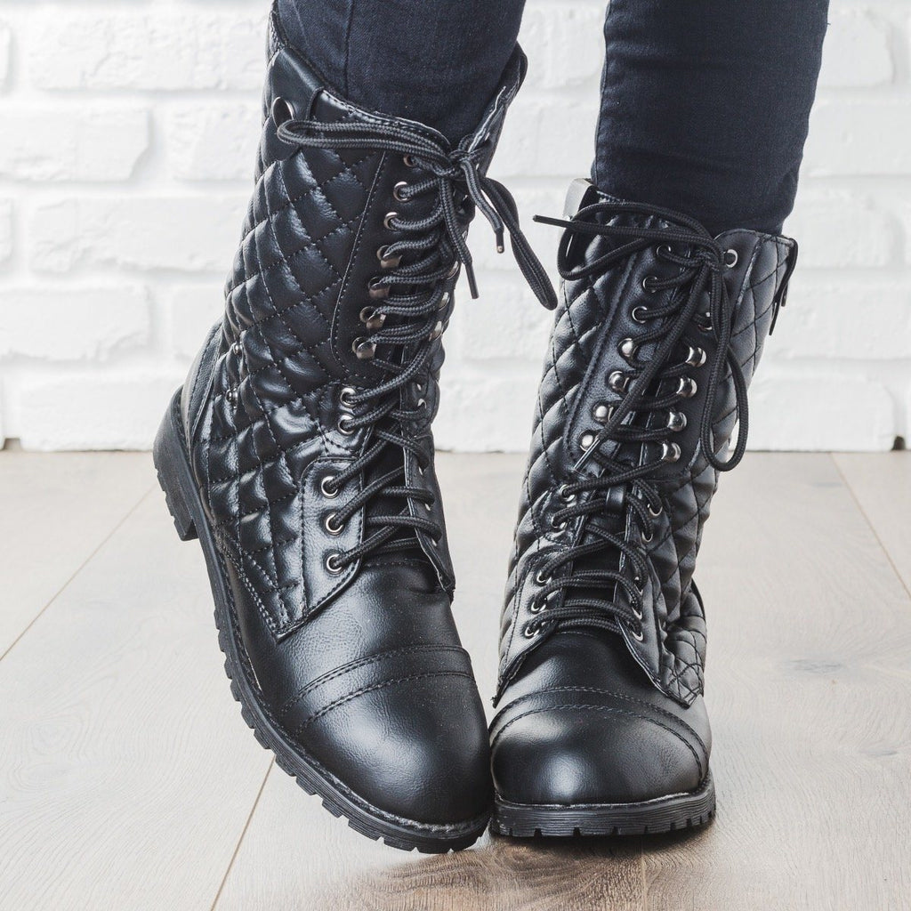 Womens Quilted Combat Boots - Glaze - Black / 5