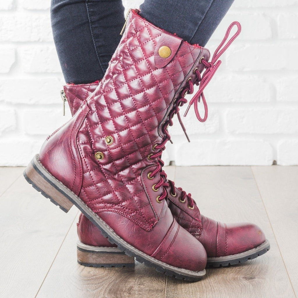 Womens Quilted Combat Boots - Glaze