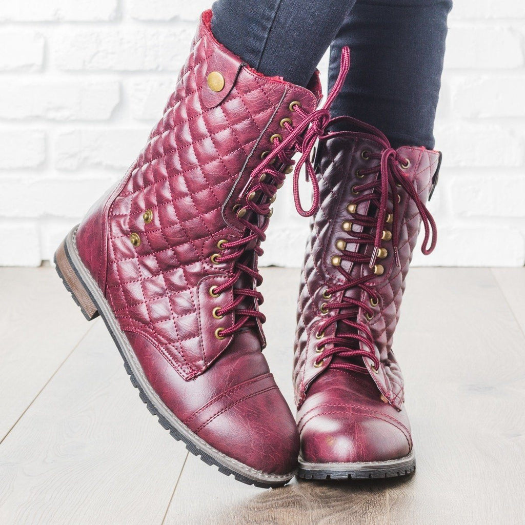 Womens Quilted Combat Boots - Glaze - Wine / 5