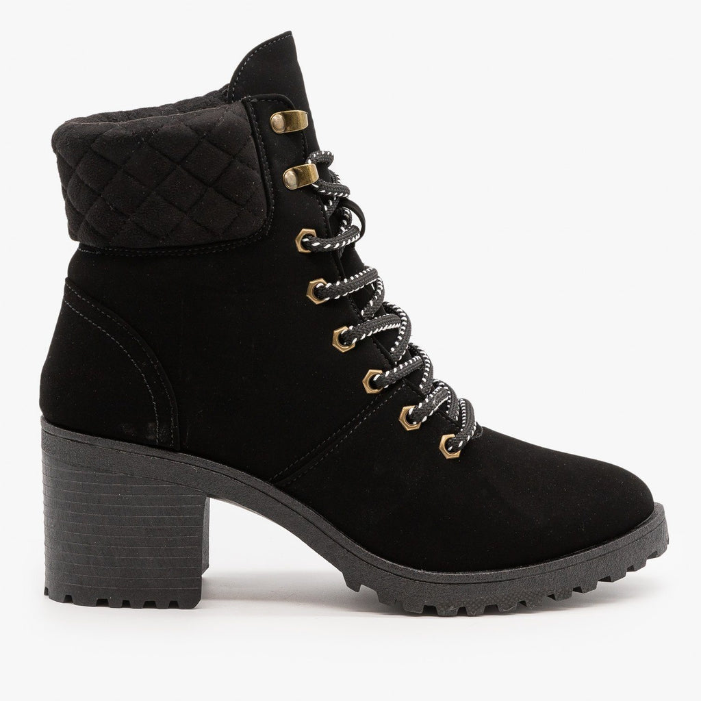 Womens Quilted Cuff Winter Booties - Qupid Shoes - Black / 5