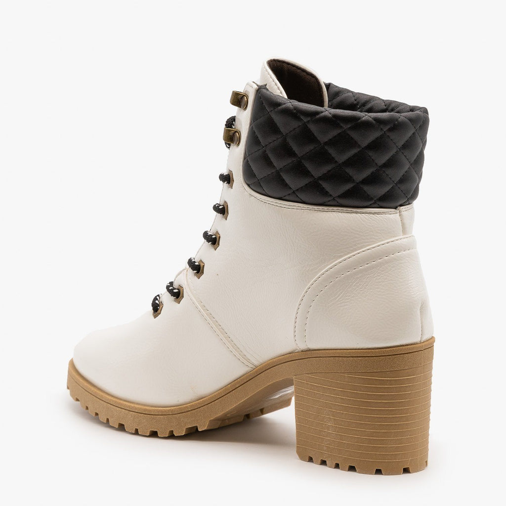 Womens Quilted Cuff Winter Booties - Qupid Shoes