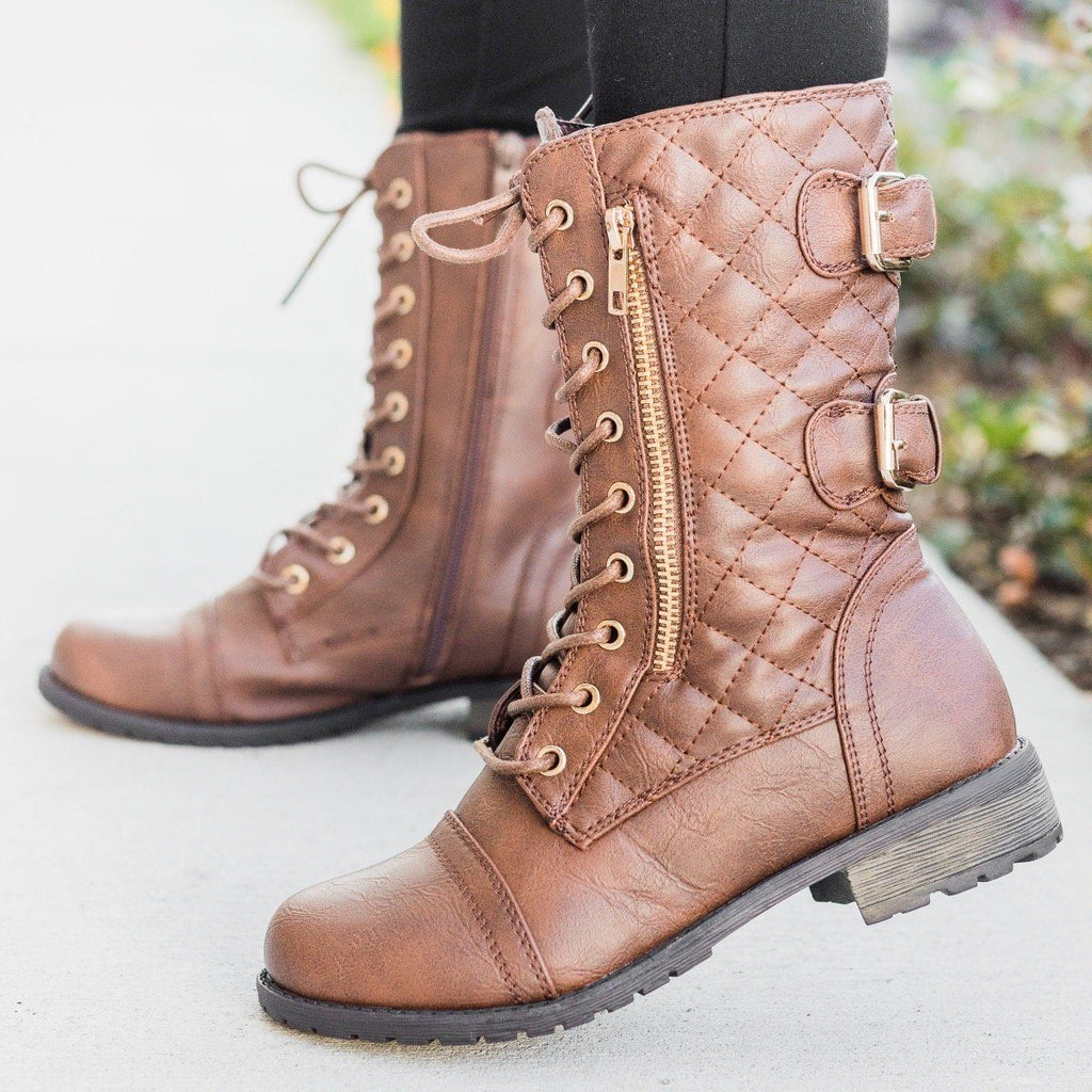 Womens Quilted Double Buckle Combat Boots - Forever - Brown / 5