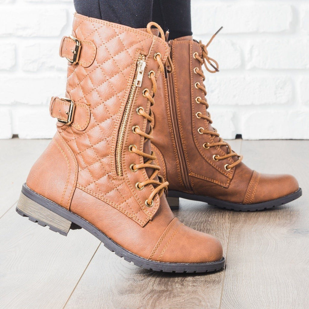 Womens Quilted Double Buckle Combat Boots - Forever