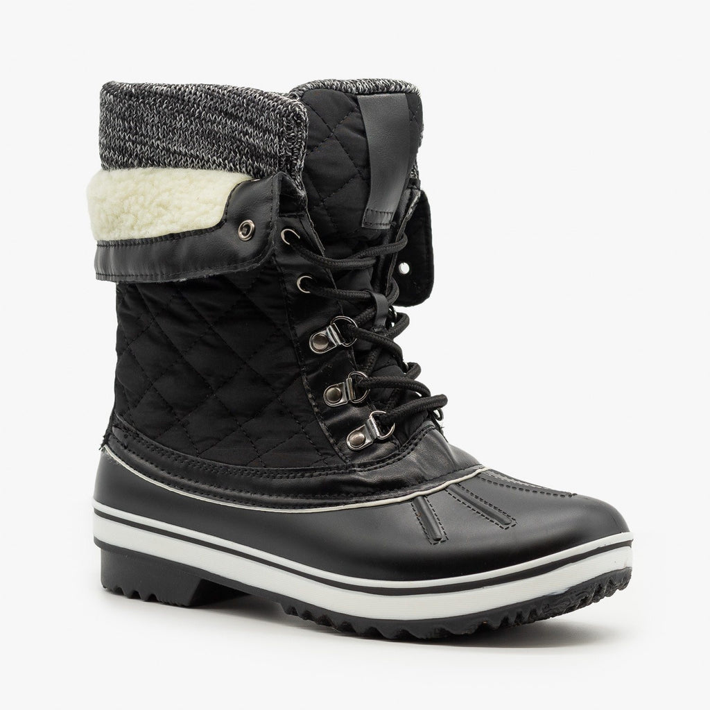 Womens Quilted Double Cuff Winter Boots - Forever