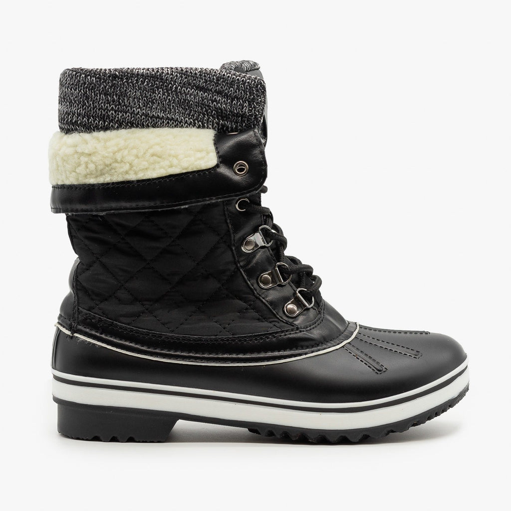 Womens Quilted Double Cuff Winter Boots - Forever - Charcoal / 5