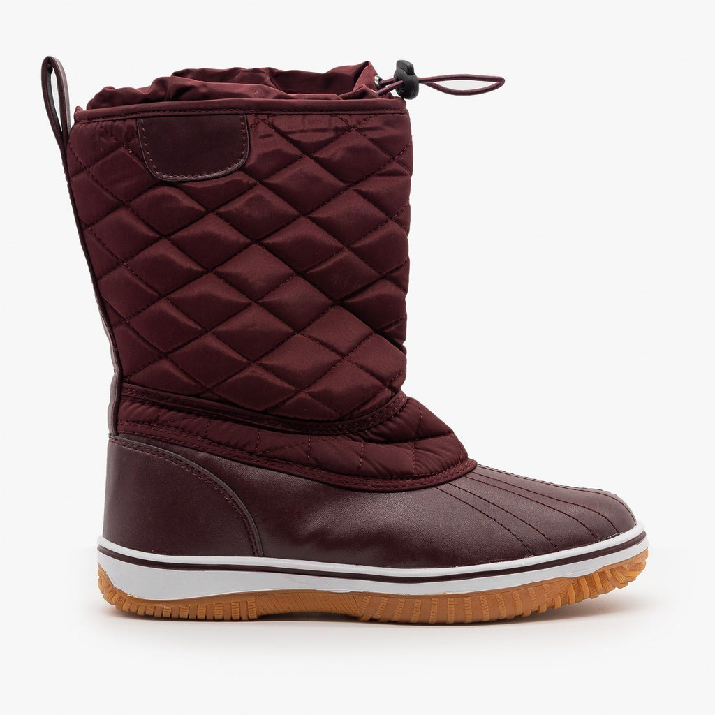 Womens Quilted Duck Boots - Refresh - Burgundy / 5
