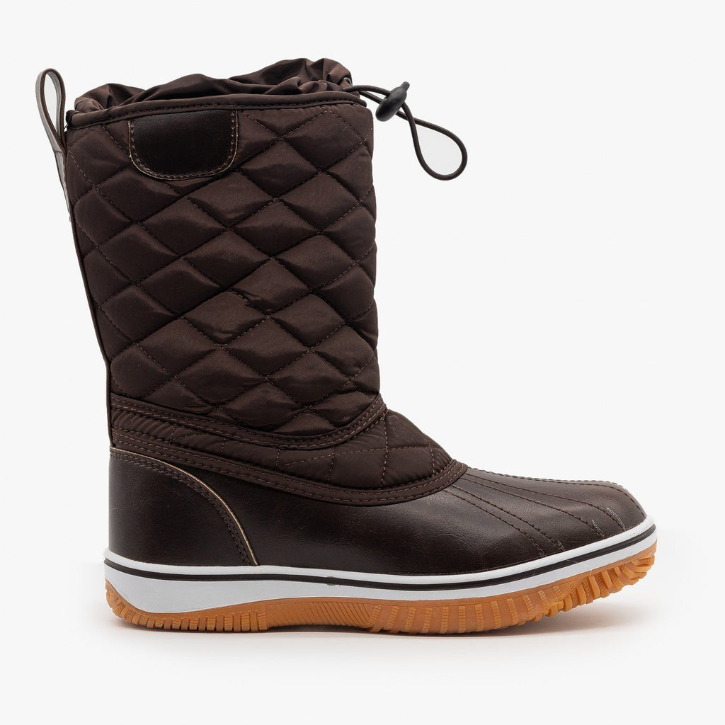 Womens Quilted Duck Boots - Refresh - Brown / 5