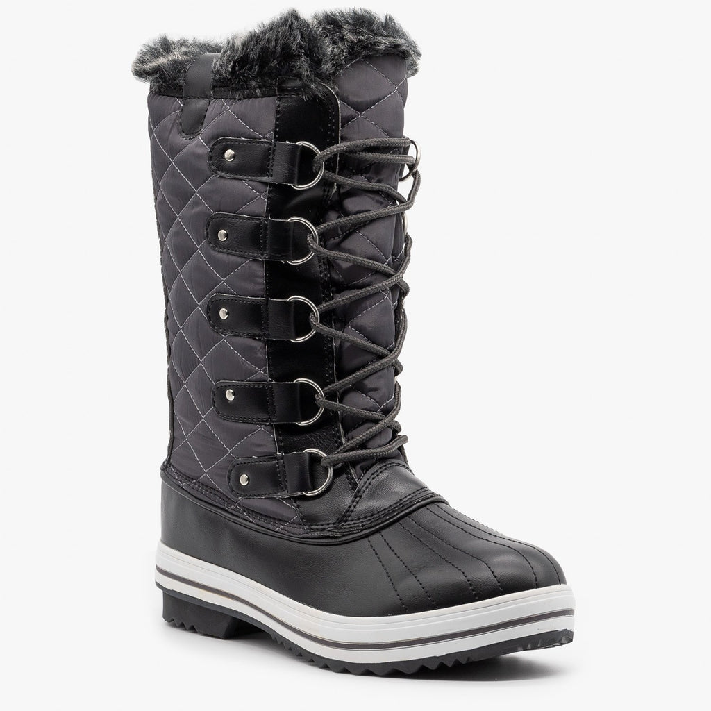 Womens Quilted Faux Fur Cuffed Snow Boots - Refresh