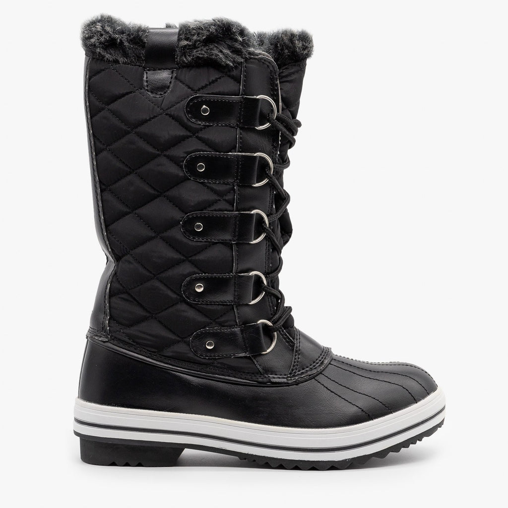 Womens Quilted Faux Fur Cuffed Snow Boots - Refresh - Black / 5